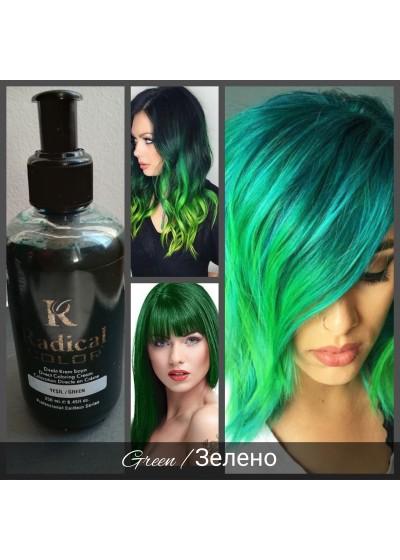 Полутрайна професионална боя за коса без Амоняк цвят Зелен - Radical