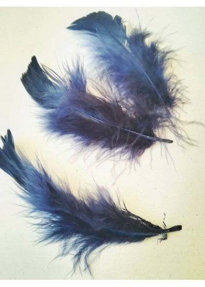 Декорация - пера цвят наситено тъмно синьо оформени лукс пакет 10 бр