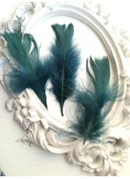 Декорация - Пера двуцветни тъмно зелено и тъмен тюркоаз лукс оформени пакет 10 бр