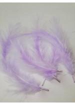 Пера за декорация на покани, кутийки и бижута - Светло люляково лилаво остри пухкави Лукс пакет 10 бр