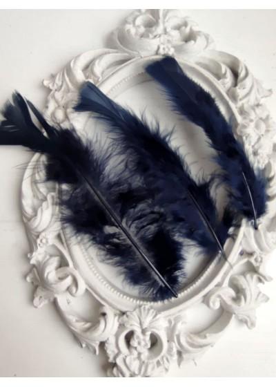 Декорация - Пера за декорация и сувенири Тъмно синьо лукс оформени пакет 10 бр